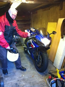 Dad undertaking a special delivery of my bike, on the first leg of its trip to Glasgow